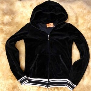JUICY COUTURE black and white velour track jacket